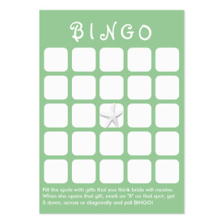 Mint Green Star Fish 5x5 Bridal Shower Bingo Card Large Business Cards (Pack Of 100)