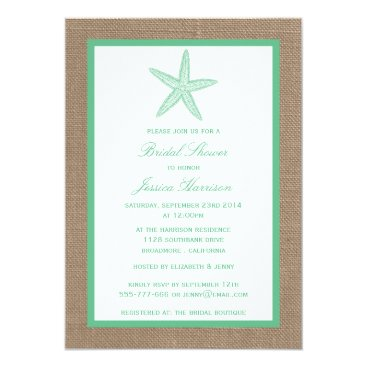 Beach Themed Mint Green Starfish Beach Burlap Bridal Shower Card