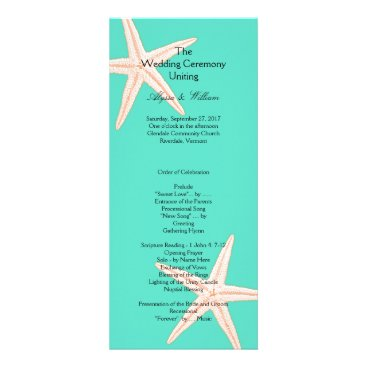 Beach Themed Mint Green Starfish Tall Wedding Program Template