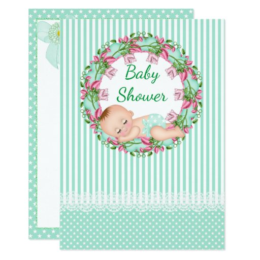 mint green stripe baby shower invitation zazzle