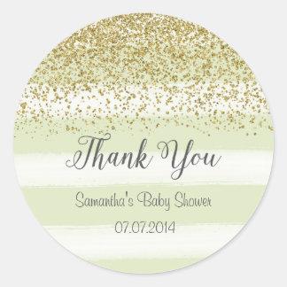 Mint Green Stripes Baby Shower Sticker