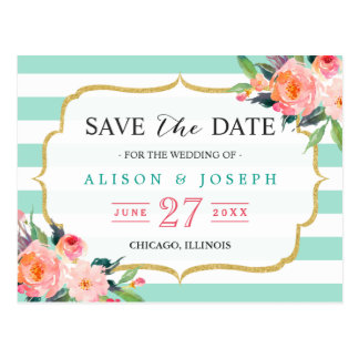 Mint Green Stripes Botanical Floral Save the Date Postcard