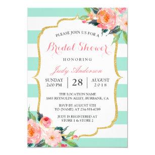 mint green stripes floral chic bridal shower invitation