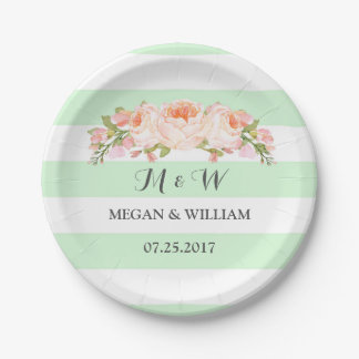Mint Green Stripes Floral Wedding Plate