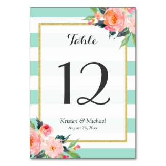 Mint Green Stripes Floral Wedding Table Number Card
