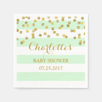 Mint Green Stripes Gold Confetti Baby Shower Napkin