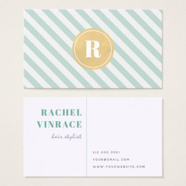 Professional Business Mint Green Stripes Gold Monogram Business Card