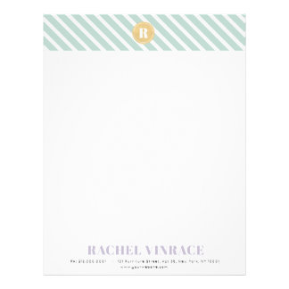 Mint Green Stripes Gold Monogram Letterhead