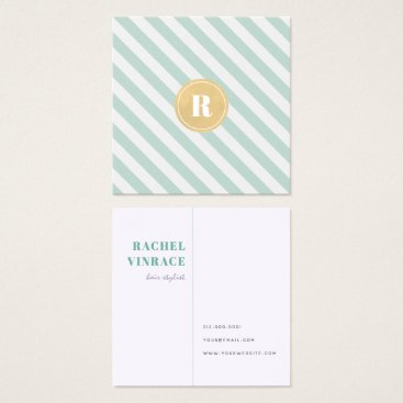 Professional Business Mint Green Stripes Gold Monogram Sq. Business Card