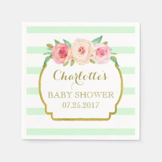 Mint Green Stripes Gold Pink Floral Baby Shower Paper Napkin