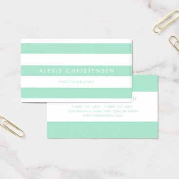 Mint Green Stripes Pattern Contemporary Business Card