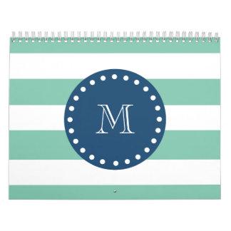 Mint Green Stripes Pattern, Navy Blue Monogram Wall Calendar