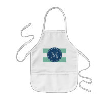 Mint Green Stripes Pattern, Navy Blue Monogram Kids' Apron
