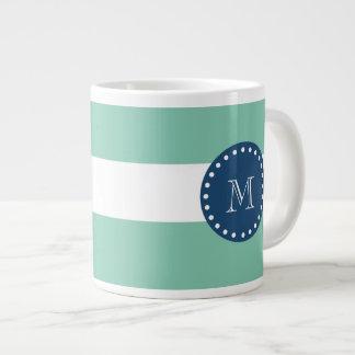 Mint Green Stripes Pattern, Navy Blue Monogram Large Coffee Mug