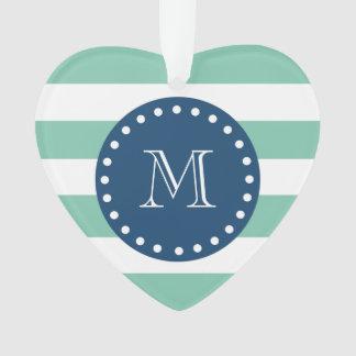 Mint Green Stripes Pattern, Navy Blue Monogram Ornament