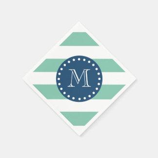 Mint Green Stripes Pattern, Navy Blue Monogram Disposable Napkin