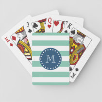 Mint Green Stripes Pattern, Navy Blue Monogram Playing Cards