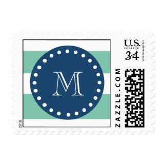 Mint Green Stripes Pattern, Navy Blue Monogram Postage Stamp