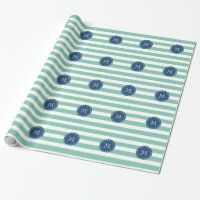 Mint Green Stripes Pattern, Navy Blue Monogram Wrapping Paper