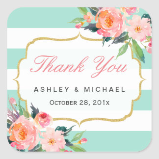 Mint Green Stripes Watercolor Floral Thank You Square Sticker