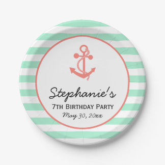 Mint Green Stripes with Coral Pink Anchor Birthday Paper Plate