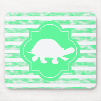 Mint Green Stripes With Turtle Silhouette Mouse Pad