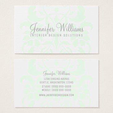 Professional Business Mint Green Subtle Damask Business Card
