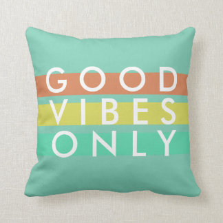 Mint Green Surfer Good Vibes Only Pillow