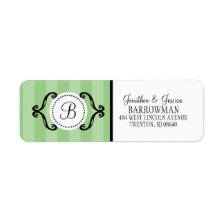 Mint Green Sweet Charming Striped Personalized Label