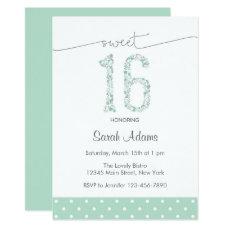 Mint Green Sweet Sixteen Birthday Invitation