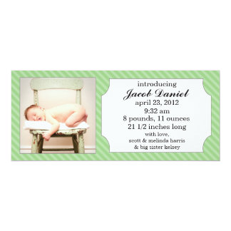 Mint Green Sweet Stripes Photo Birth Announcements