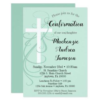 Mint Green Swirl Cross Confirmation Invitation