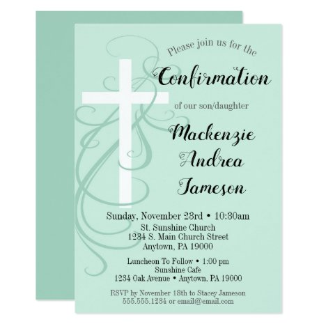 Mint Green Swirl Cross Confirmation Invitation