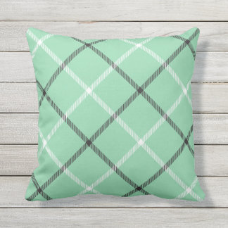 Mint Green Tartan Plaid Pattern Patio Deck Chair Outdoor Pillow