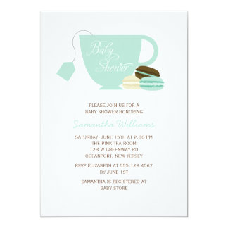 Mint Green Tea Cup and Macarons Baby Shower Card