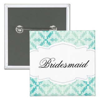 Mint Green & Teal Damask Bridesmaid Button