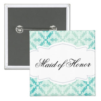 Mint Green & Teal Damask Maid of Honor Button