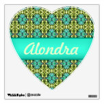 mint green teal mosaic pattern heart decal
