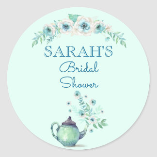 Mint Green Teapot Watercolor Flowers Classic Round Sticker