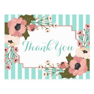 Mint Green Thank You Floral Pink Stripes Wedding Postcard