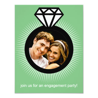 Mint Green The Ring Photo Engagement Party 4.25x5.5 Paper Invitation Card