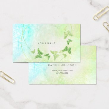 Beach Themed Mint Green Tiffany Blue Butterfly Metallic Business Card