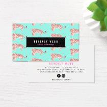 Mint Green Tiger Pattern Trendy Business Card