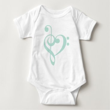 heartlocked Mint Green Treble Clef & Bass Clef Heart Baby Bodysuit