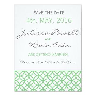 Mint Green Trellis Save the Date 4.25x5.5 Paper Invitation Card