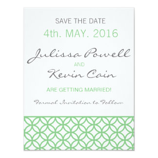 Mint Green Trellis Save the Date Card