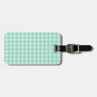 Mint green triangle pattern and white stripes luggage tag