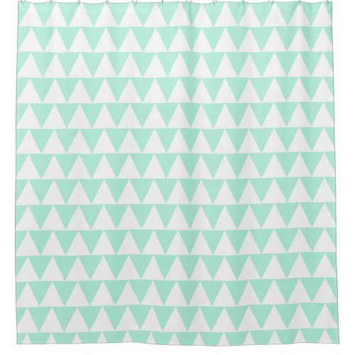 Mint green triangles shower curtain
