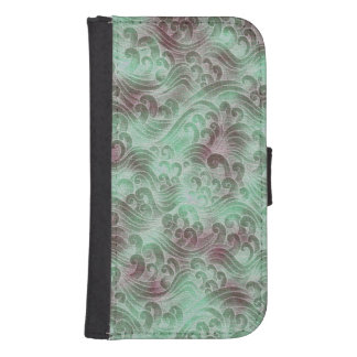 Mint Green Tsunami Ocean Tidal Wave Plum Color Sea Phone Wallet