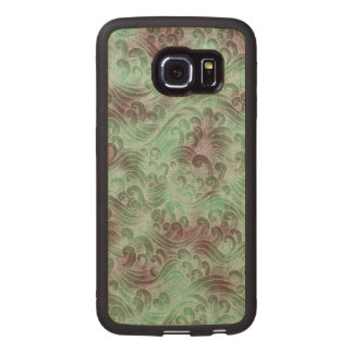 Mint Green Tsunami Ocean Tidal Wave Plum Color Sea Wood Phone Case